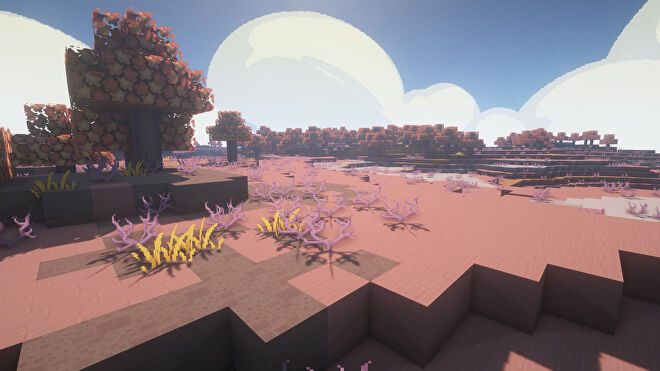 A Minecraft screenshot of a landscape displayed using the Anemoia Texture Pack.