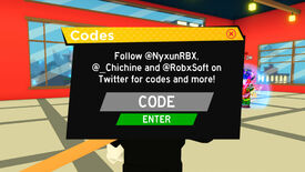 A screenshot from Anime Fighting Simulator, a Roblox training game, showing the screen where you can redeem codes for free in-game currency.