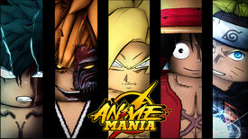 Promotional art for Roblox game Anime Mania, showcasing five anime character faces side by side.
