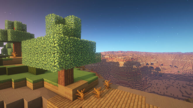 A Minecraft screenshot of a landscape displayed using the Annahstas Beastrinia Texture Pack.
