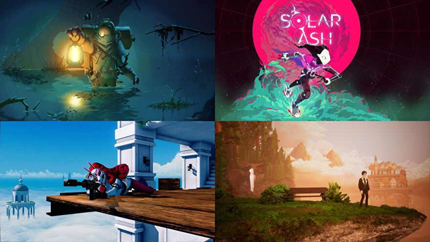Games shown at Annapurna's showcase, clockwise from the top left: Outer Wilds, Solar Ash, The Artful Escape, and Neon White.
