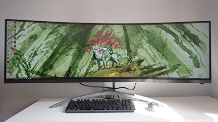 A photo of the AOC Agon AG493UCX gaming monitor