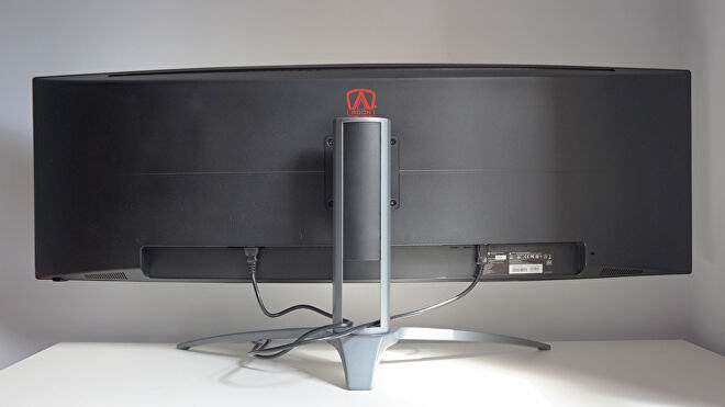 A photo of the AOC Agon AG493UCX gaming monitor from the back