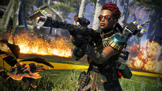 An Apex Legends screenshot of Bangalore using a Triple Take with an Optic attachment.