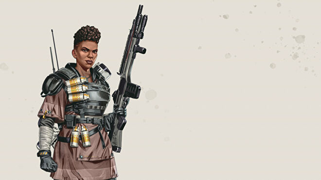 Official art of Bangalore, one of the Apex Legends characters.