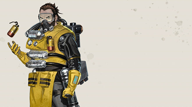 Official art of Caustic, one of the Apex Legends characters.