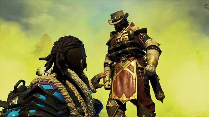 Caustic surrounded by gas and standing over a poor Legend in Apex Legends' Chaos Theory Collection Event.