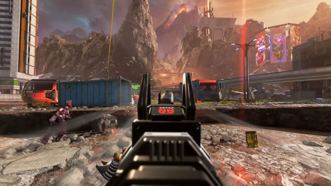 An Apex Legends screenshot of the player aiming down sights on the World's Edge map and shooting at an enemy.