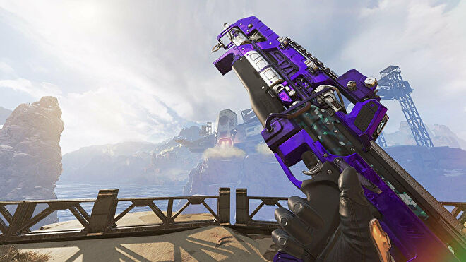 An Apex Legends screenshot of the Flatline being held up by the player in the Firing Range.