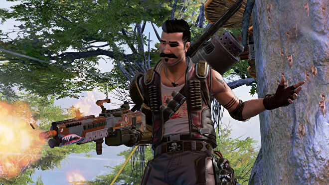 An Apex Legends screenshot of Fuse standing on the branch of a tree and firing his weapon.
