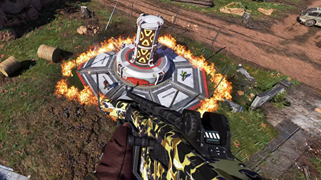 An Apex Legends screenshot of Fuse flying down towards a ring of fire created by his Ultimate ability.