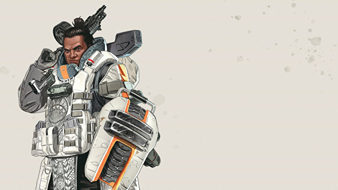 Official art of Gibraltar, one of the Apex Legends characters.
