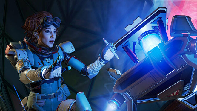 A close-up of Horizon, an Apex Legends character, using one of her abilities.