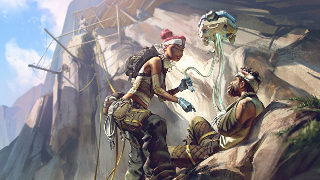 Some Apex Legends concept art of Lifeline using her Drone to heal a wounded ally.