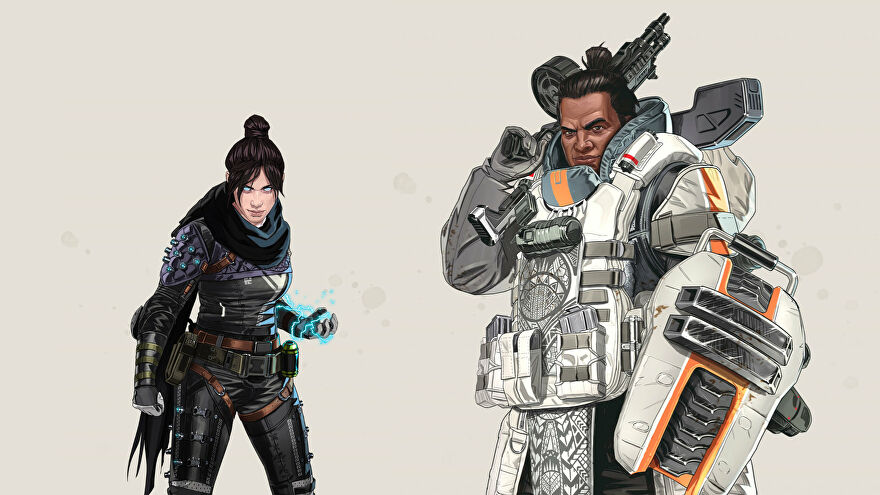 Official art of Wraith, a Legend with the Low Profile perk, next to Gibraltar, a Legend with the Fortified perk.