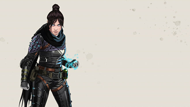 Official art of Wraith, one of the Apex Legends characters.