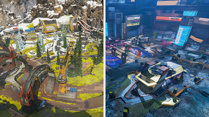 Side-by-side comparison of two Apex Legends Arena maps: Phaserunner and Party Crasher.