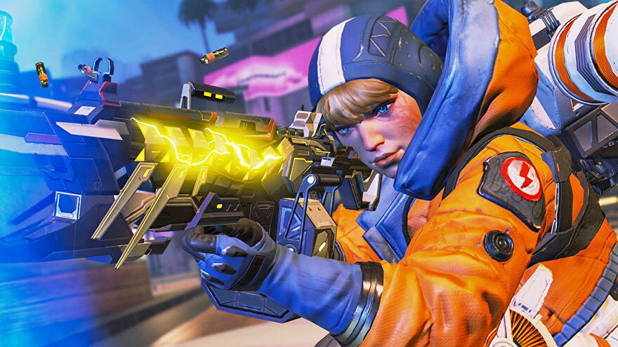 Wattson from Apex Legends aiming down her gun in the Arenas mode