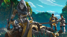 From an Apex Legends cinematic: Ash crouches over a dead Legend and uses her passive ability to find out where their killers are.