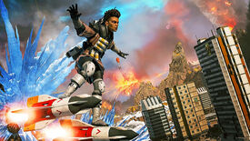 Bangalore from Apex Legends standing on top of a rocket