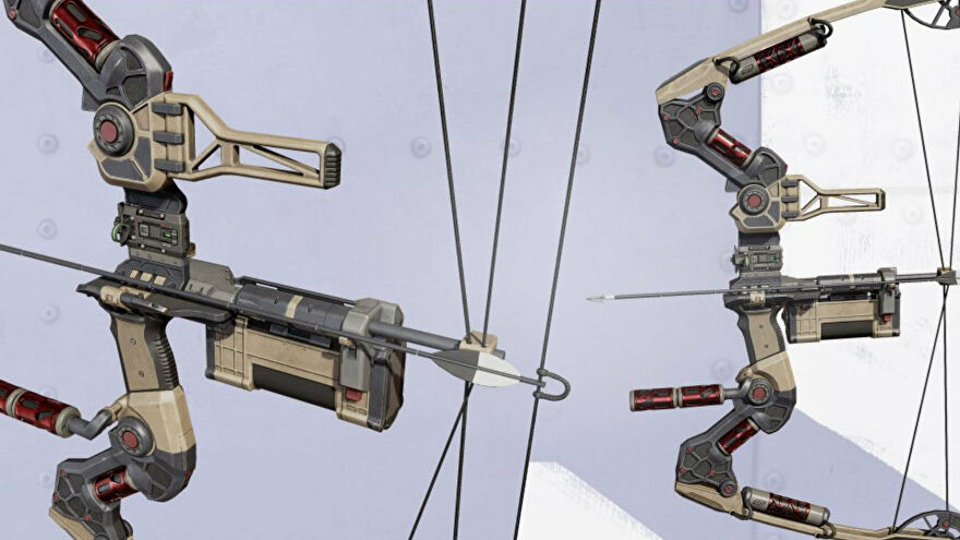 Promotional Apex Legends art of the Bocek Bow, Season 9's addition to the game's weapons roster.