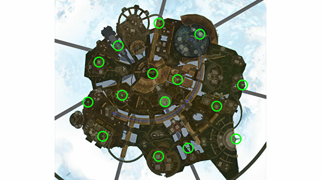 A map of Olympus in Apex Legends, with all the possible holo spray locations for the Season 9 Invitation challenge highlighted.