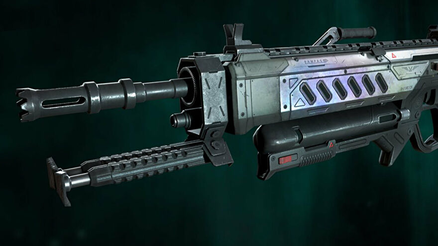 Promotional art of the Rampage, an LMG added in Season 10 of Apex Legends.