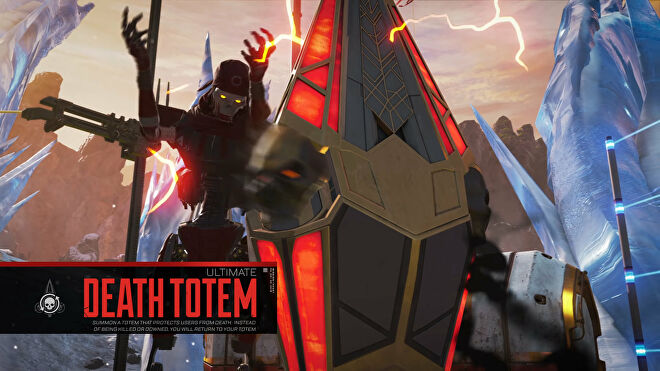 A screenshot from the Meet Revenant Apex Legends trailer of Revenant summoning a Death Totem.