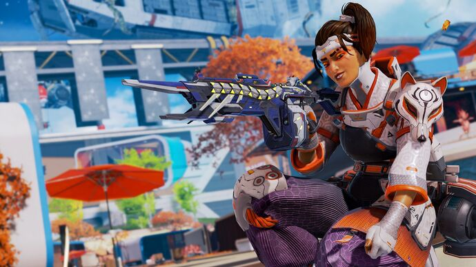 Rampart from Apex Legends looking cool and smug in a funky new skin.