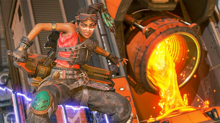 Apex Legends' Rampart stood in front of some pouring lava on the new Arenas map, Overflow.