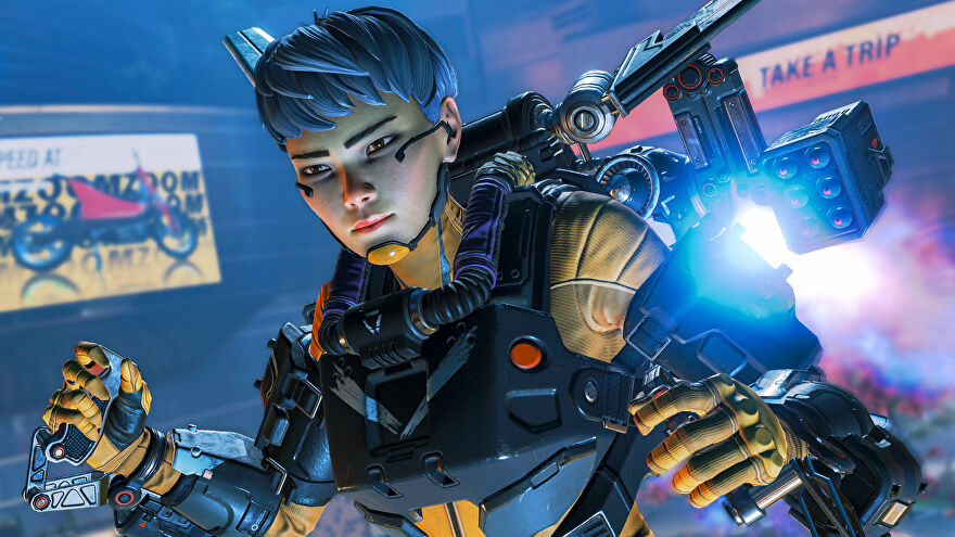 Promotional Apex Legends screenshot of Valkyrie hovering in the air with her jetpack.