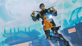 Promotional Apex Legends screenshot of Valkyrie hovering high in the air with her jetpack