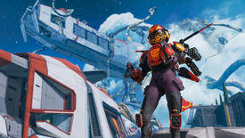 Promotional Apex Legends screenshot of Valkyrie standing on the Olympus map wearing one of her Legendary skins.