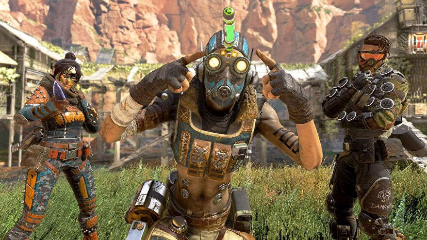 Wraith, Octane and Mirage posing in Apex Legends.