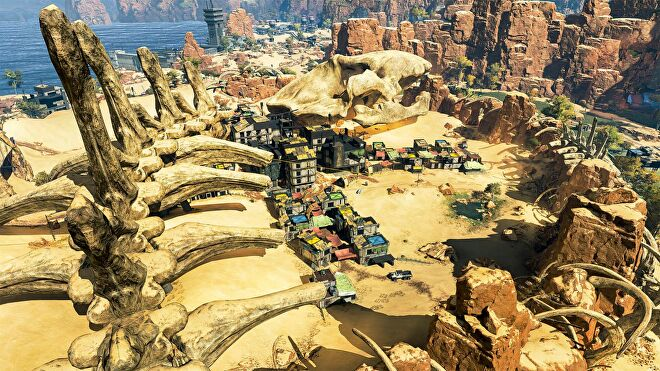 A bird's eye view of Skull Town on Apex's Kings Canyon map.