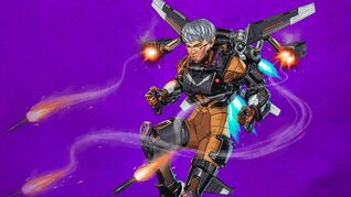 Key art of Apex Legends' new character Valkyrie, she's hovering in the air with loads of rockets coming out of a mean-looking jetpack.