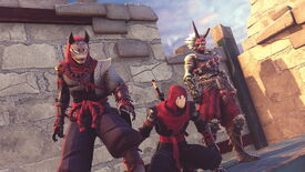 An image from Aragami 2 which shows a squad of three ninjas stood next to each other and hanging out.
