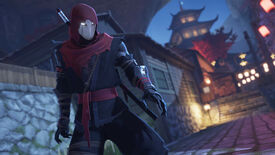 A ninja stands in close up with a pagoda tower in the background in Aragami 2