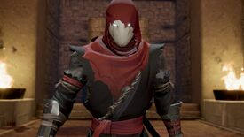 A close-up portrait of the main ninja character from Aragami 2