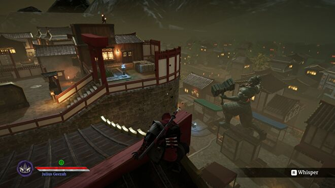 A ninja looks over a town from a rooftop in Aragami 2