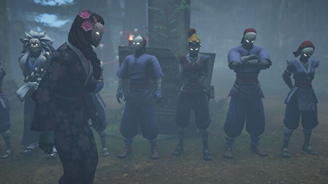 A collection of ninjas stand in a line while a female master paces up and down in Aragami 2
