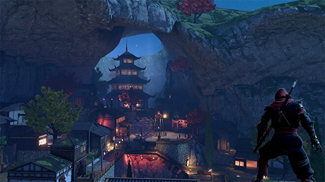 An image from Aragami 2 which shows the player looking out over Kakurega village, a hub area inspired by ancient Japan.
