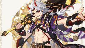 Arataki Itto from Genshin Impact, as seen on his character card.