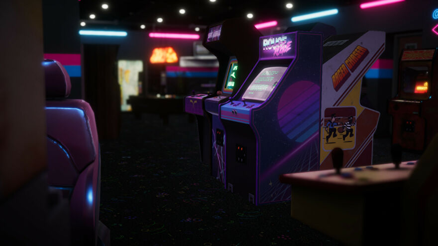 Arcade Paradise - Two neon-lit arcade cabinets sit at the center of a dark arcade surrounded by other arcade games.