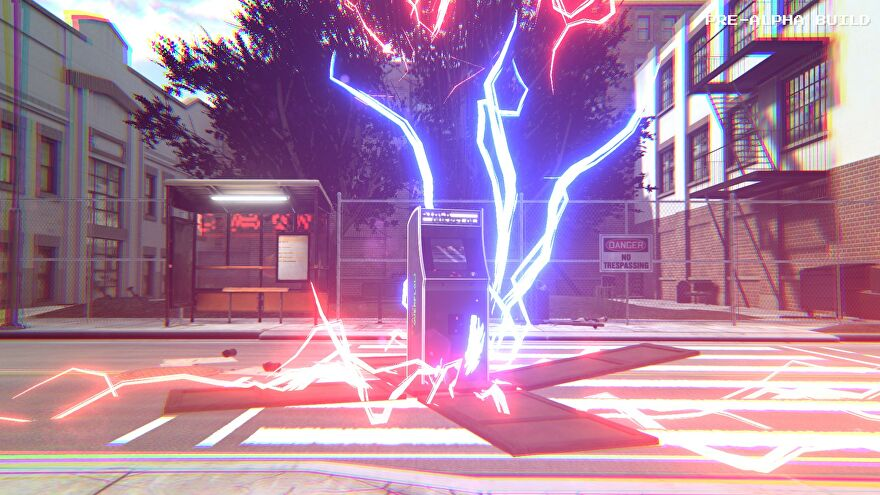 Arcade Paradise - An arcade cabinet on a street explodes out of a shipping bow with blue and red lightning.