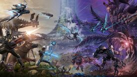 Ark: Survival Evolved Genesis Part 2's key art, it's colourful and spacey.