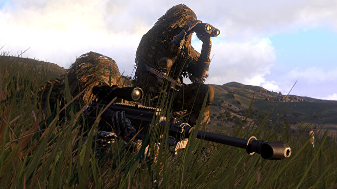A sniper and spotter in ghillie suits in an Arma 3 screenshot.