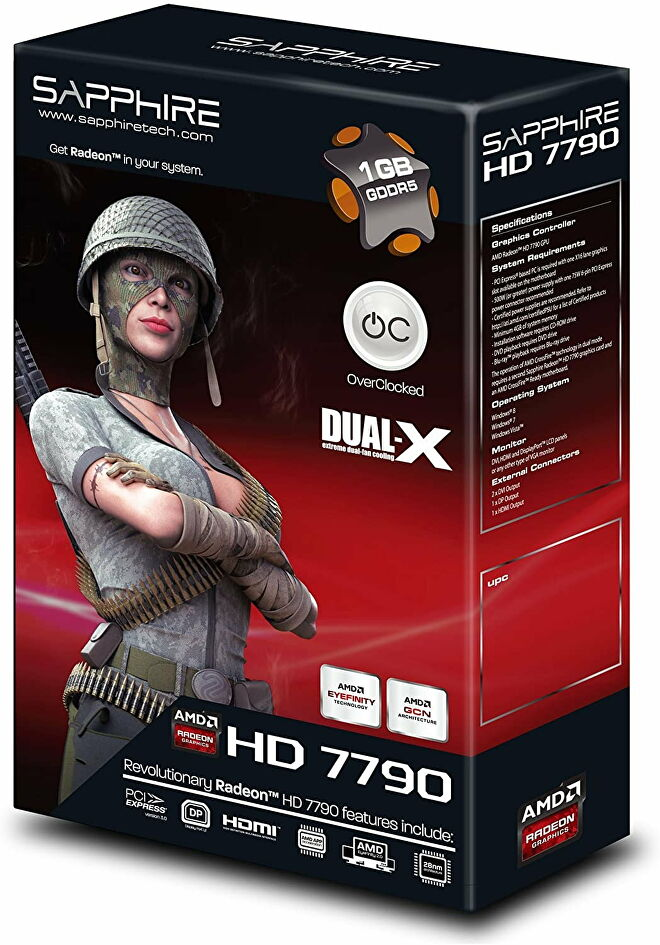 A graphics card box for Sapphire's Radeon HD 7790, depicting a woman in camo gear crossing her arms