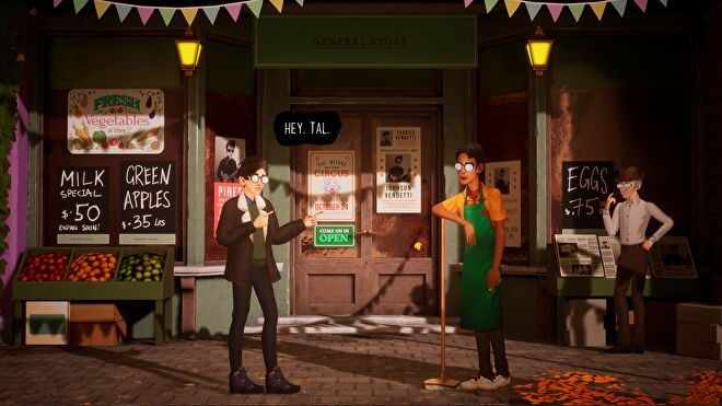 Francis Vendetti talks to Tal outside a grocers in The Artful Escape