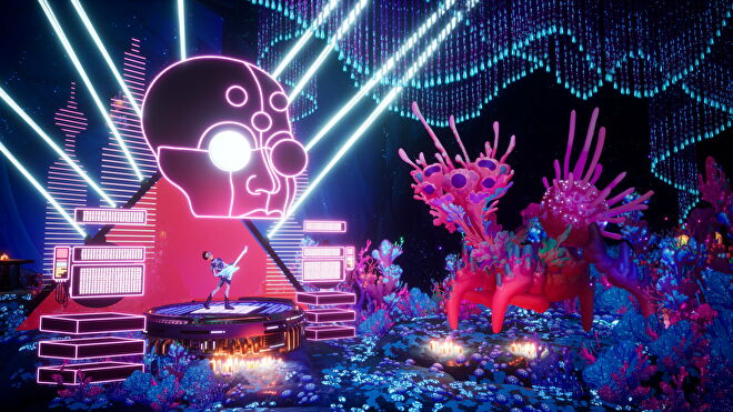 Francis plays his guitar on stage and jams with a fantastical coral creature in The Artful Escape